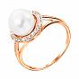 Золотое кольцо Бамбино с жемчугом и фианитами