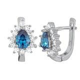 Серьги из серебра с голубыми фианитами Брюссель