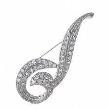 Серебряная брошь с фианитами Нить Ариадны