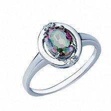 Серебряное кольцо Наина с топазом мистик и фианитами