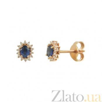 Золотые серьги с сапфирами и бриллиантами Магия небес 000026647