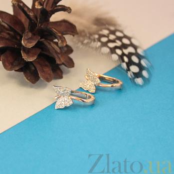 Золотые серьги Изящные бабочки с кристаллами циркония 000080779