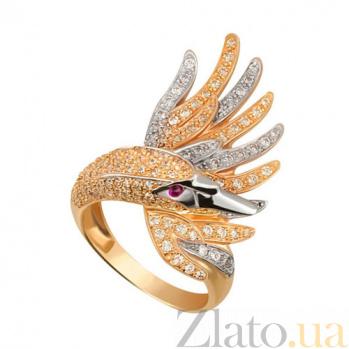Кольцо из желтого и белого золота Лебедь с фианитами VLT--ТТ1256