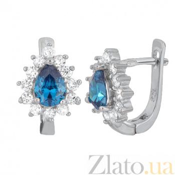 Серьги из серебра с голубыми фианитами Брюссель SLX--СК2ФЛТ/383