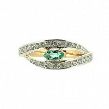 Золотое кольцо в красном цвете с изумрудом и бриллиантами Лада