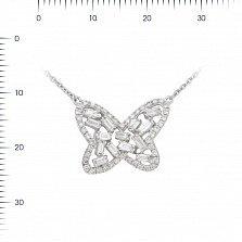 Колье из белого золота Снежная бабочка с бриллиантами
