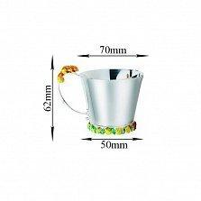Серебряная чашка Белочка с эмалью