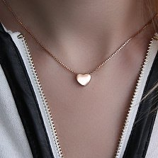 Односторонний кулон-сердце из красного золота Счастливый миг, глянец