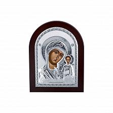 Серебряная икона Божьей Матери с красными фианитами