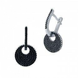 Серебряные серьги Гелена с подвесками и дорожками черных фианитов