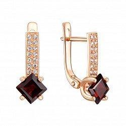 Золотые серьги в красном цвете с гранатом и кристаллами циркония 000117200
