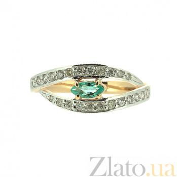 Золотое кольцо в красном цвете с изумрудом и бриллиантами Лада ZMX--RE-6730_K