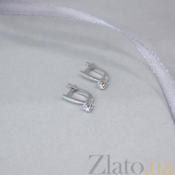 Золотые серьги Мулена в белом цвете с бриллиантами 000095853