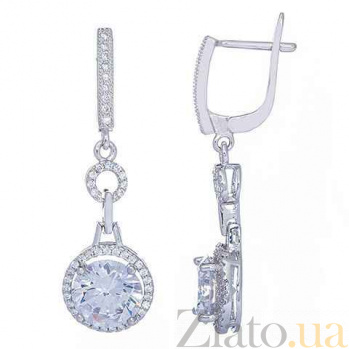 Серебряные серьги подвески Принцесса AQA--E0936