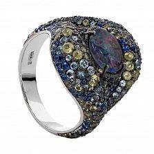 Серебряное кольцо с опалом, топазами и хризолитами Космикс