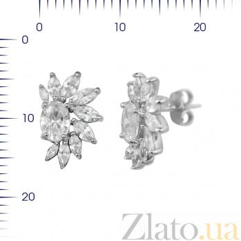 Серебряные серьги-пуссеты Соледад с фианитами 000081912