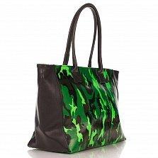 Кожаная сумка на каждый день Genuine Leather 8023 черного-зеленого цвета с принтом хаки, на молнии