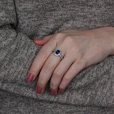 Золотое кольцо Кирина с гидротермальным сапфиром и бриллиантами