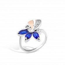 Серебряное кольцо Фекла с золотой вставкой, синими и белыми фианитами