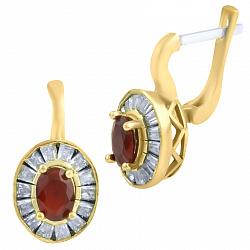 Серьги из серебра и бронзы Филиппа с рубином и фианитами 000057549