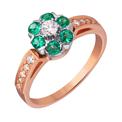 Золотое кольцо с изумрудами и бриллиантами Джозефа