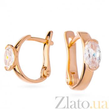 Золотые серьги с цирконием Диана SVA--2100405101/Фианит/Цирконий