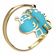 Кольцо из золота Бегемотик с эмалью