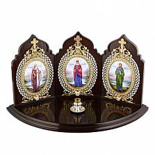 Икона-триптих с подсвечником на 1 свечу