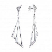 Серебряные пуссеты-подвески Треугольный мир с фианитами
