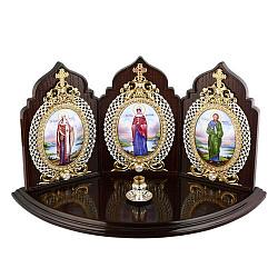 Латунная икона на дереве Триптих с подсвечником на 1 свечу с фианитами, позолотой и цветной эмалью