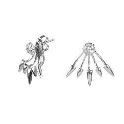Серебряные серьги-джекеты с фианитами 000098780
