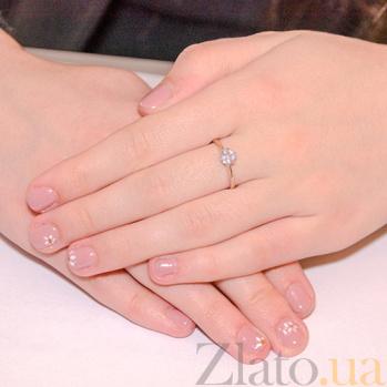 Золотое кольцо с фианитами Эльфия 000023156