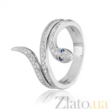Кольцо из серебра с фианитами Змейка 000028159
