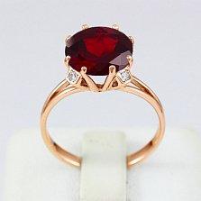 Золотое кольцо Эсфира с гранатом и фианитами