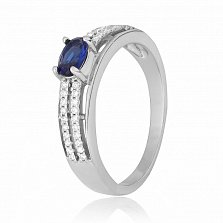 Cеребряное кольцо Шеннон с синим и белым цирконием