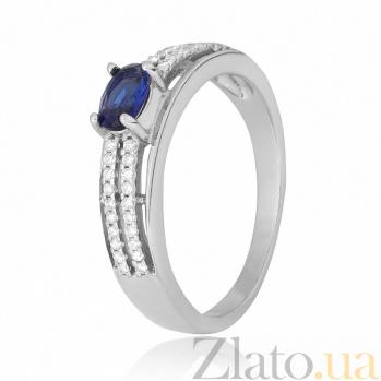 Cеребряное кольцо Шеннон с синим и белым цирконием 000028353