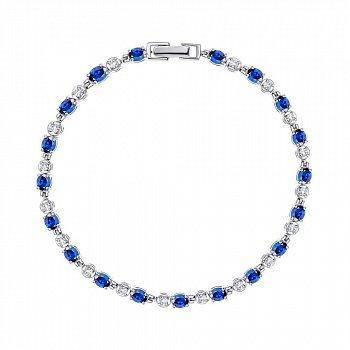 Срібний браслет із сапфірами та фіанітами 000137372