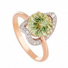 Золотое кольцо с зеленым аметистом Элегия