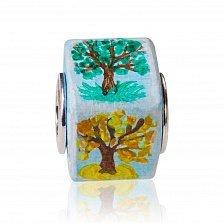 Расписанный вручную шарм из дерева и серебра Сезоны, покрытый водоотталкивающим лаком