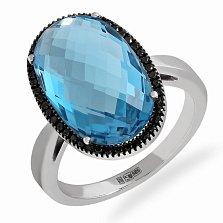Кольцо в белом золоте Ванга с крупным голубым топазом и бриллиантами