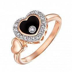 Золотое кольцо Любовь в красном цвете с черной эмалью и фианитами