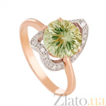 Золотое кольцо с зеленым аметистом Элегия VLN--112-1398-5