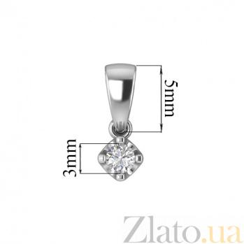 Золотой подвес в белом цвете с бриллиантом Андромеда 000030729