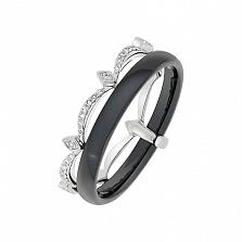 Кольцо в белом золоте Леди с керамикой и бриллиантами