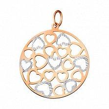 Золотой подвес в комбинированном цвете Сердечный узор с насечкой