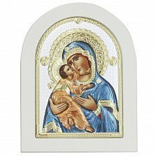 Икона на деревянной основе Божья Матерь Владимирская с разноцветной эмалью и позолотой, 13х17