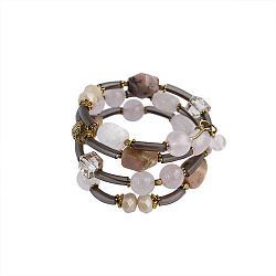 Спиральный браслет Романтика с каучуком, розовым кварцем, агатом и кристаллами Swarovskі 000059245