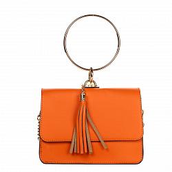 Кожаный клатч Genuine Leather 1669 оранжевого цвета с круглой металлической ручкой