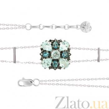 Серебряный браслет с топазами и фианитами Первый снег 3Б846-0023