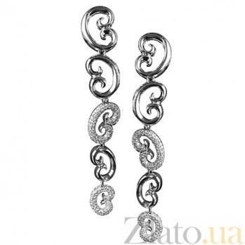 Золотые серьги с бриллиантами Римские каникулы KBL--С2273/бел/брил